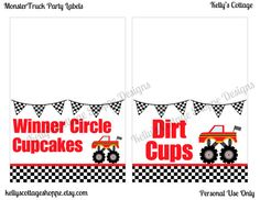 Instant Download Printable Monster Truck Birthday Party Labels.... Food Tags, Place Cards, Party Signs via Etsy