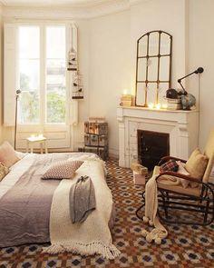 Home Interior Home Decor cozy living room Cozy bedroom. Vintage kilim pouf / ottoman / foot stool by BazaarLiving on Etsy Cozy Bedroom, Dream Bedroom, Bedroom Decor, Master Bedroom, Bedroom Bed, Design Bedroom, Bed Room, Bedroom Ideas, Budget Bedroom