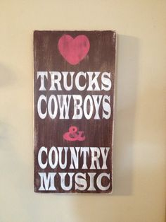 Wood Canvas Sign Trucks Cowboys & Country by PrimitiveSignsNSuch, $30.00
