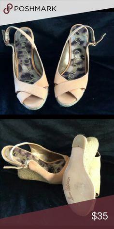 "Sam Edelman Peach Wedges Womens Sam Edelman Peach Wedges. Size 6.5. 4"" Heel. Suede. In excellent pre owned condition! Sam Edelman Shoes Wedges"
