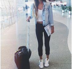 Denim jacket: Forever 21 Top: Brandy Melville  Leggings: Target Shoes: Adidas