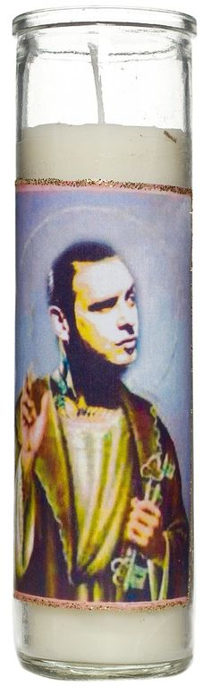 SAINT MIKE NESS PRAYER CANDLE Are you somewhere between Heaven and Hell? Say a little prayer to Saint Mike Ness and let him decide which path to direct you down. This white candle features a saintly Mike Ness holding the keys to your future! $9.00 #candle #housewares #mikeness #rockabilly
