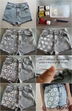 These shorts are so excellent for the summer season, I've these DIY shorts all around the pi … - Refashion Painted Shorts, Painted Jeans, Painted Clothes, Diy Clothes Paint, Thrift Store Diy Clothes, Sewing Clothes, Thrift Store Fashion, Clothes Crafts, Diy Clothing