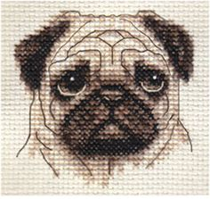 FAWN PUG dog, puppy ~ Full counted cross stitch kit, all materials ***SALE*** Cross Stitching, Cross Stitch Embroidery, Embroidery Patterns, Cross Stitch Designs, Cross Stitch Patterns, Pug Cross, Fawn Pug, Pug Puppies, Counted Cross Stitch Kits