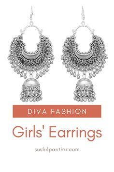 Jhumki Earrings, Indian Earrings, Girls Jewelry, Women Jewelry, Jewelry Necklaces, Jewellery, Girls Earrings, Diva Fashion, Lead Free