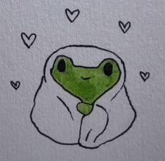 Indie Drawings, Cool Art Drawings, Doodle Drawings, Art Drawings Sketches, Doodle Art, Easy Drawings, Arte Indie, Frog Art, Cute Frogs