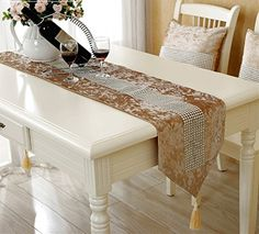 Luxury coffee sparkle table runner 80 inch approx for wedding party and quilt patterns JH table runner http://www.amazon.com/dp/B00U4LYJ6G/ref=cm_sw_r_pi_dp_8Z6vwb1NM064N