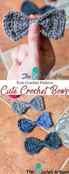 The Crochet Artisan: Cute Crochet Bows these would be cure as bow ties for the boys