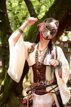 Steampunk Cosplay, Steampunk Clothing, Kitsune Mask, Steampunk Design, Fantasy Character Design, Oriental Fashion, Fashion Art, Fashion Design, Dieselpunk