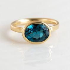 London Blue Topaz Oval Ring in 14k Gold by Melanie Casey Jewelry