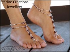 """Barefoot Sandals with Anklets """"Chocolate Pearls & Silver"""" Foot Jewellery 1 pair"""
