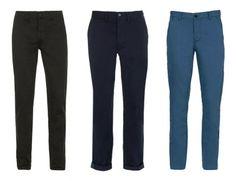 Tres de los colores básicos de pantalones para el fondo de armario masculino