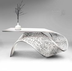 TORSION front desk /table / console sculpture a twisted metal sheet carved arabic calligraphy art. plaited with white aluminum powder by Sako Tchilingirian.