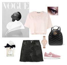 """Stylish"" by stenvijohanna on Polyvore featuring RE/DONE, NIKE, Gucci, adidas and Trish McEvoy"