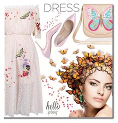 """""""Spring Trend: Off-Shoulder Dresses"""" by shoaleh-nia ❤ liked on Polyvore featuring Accessorize, Temperley London and Casadei"""