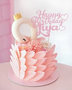 Another day, another swan cake, this time in pink! Flamingo Baby Shower, Flamingo Cake, Animal Birthday Cakes, Peacock Cake, Girl Cakes, Fondant Cakes, Cake Cookies, Celebration Cakes, Baby Shower Cakes