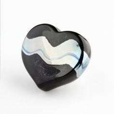 "Robert Held Art Glass - Paperweight, Silver Wave Large Heart - 3.5 X 3"" $75 #black"