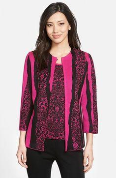 Ming Wang Collarless  Lace Jacquard Knit Jacket available at #Nordstrom