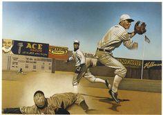 Bill Nelson, illustration for IBM, colored pencil, airbrush on board. Bill Nelson, Diamonds In The Sky, Baseball Art, Sports Art, Ibm, Airbrush, Colored Pencils, Illustrators, Board