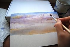 Today I'm going to show you how to paint a sky. Now the real point of the exercise is to loosen up, not to produce a photographic image. Watercolor Tutorial Beginner, Abstract Watercolor Tutorial, Watercolor Clouds, Watercolour Tutorials, Watercolor Paintings, Watercolours, Abstract Art, Art Lessons Online, Bob Ross Paintings
