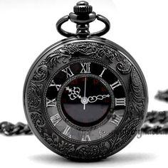 Read More About Quartz Pocket Watch Skeleton Black Chrome Pocket Watch Pendant Roman Number pocket watch 264-998...