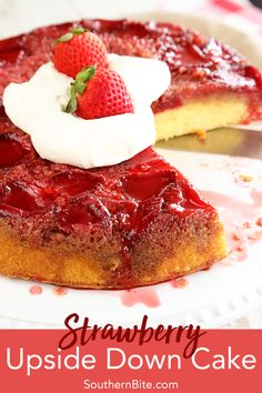 This recipe for Strawberry Upside Down Cake starts with a cake mix so that it's quick and easy but it turns into something amazing! via Southern Bite - Recipes Cupcakes, Cupcake Cakes, Strawberry Upside Down Cake, Strawberry Cakes, Blueberry Upside Down Cake, Fresh Strawberry Recipes, Strawberry Shortcake, Cake Recipes, Dessert Recipes