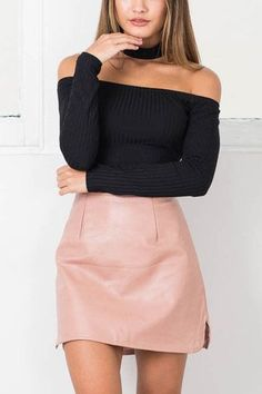 Pink Leather Side Split Mini skirt