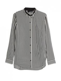 The Kooples Striped Silk Shirt in black and white