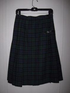 Pendleton Wool Black Watch Tartan Plaid Blue Green Fringed Pleated Wrap Skirt 12 #Pendleton #Casual