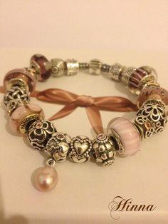 Pandora Two Tone Bracelet with Dusky rose Colours.....