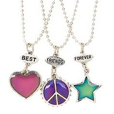 Best Friends Mood Heart, Star and Peace Sign Pendant Necklaces Set of 3 #BFF