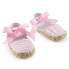 Baby Pink Seersucker Espadrilles - Like it? Follow us on Facebook! http://www.facebook.com/SpecialBabyShowerGifts