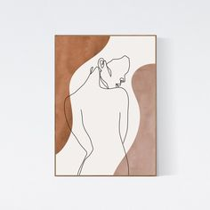 Abstract Body Line Art Print, Nude Woman Body Single Line Drawing, Minimalist Neutral Colors Printable Wall Art, Earth Tones Female Body Single Line Drawing, Sun Art, Art Graphique, Minimalist Art, Printable Wall Art, Art Drawings, Canvas Art, Art Prints, Women's History