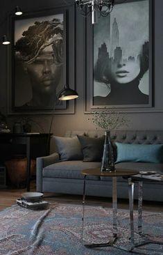 Unique contemporary living room design ideas 00027 ~ Home Decoration Inspiration Living Room Colors, Living Room Paint, Living Room Grey, Living Room Modern, Rugs In Living Room, Living Room Designs, Small Living, Living Spaces, Interior Design Blogs