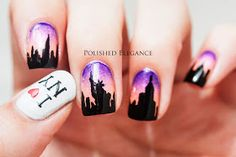 New York Skyline at Dusk Nail Art
