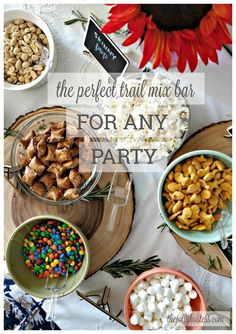 Trail Mix Bar is the perfect party app for endless snacking, set up to build your own based on trail mix (and other! Appetizers For Party, Appetizer Recipes, How To Make Your Own Recipe, Trail Mix Recipes, Chef Recipes, Party Recipes, Party Snacks, Night Snacks, Bar Mix