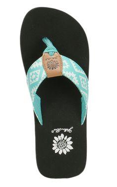 Yellow Box Women's Bandit Mint & White Aztec Print Flip Flops   Cavender's
