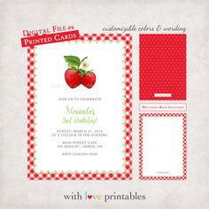 Strawberry Berry | Summer Party Bridal Baby Shower Birthday Invitation | Custom Design | Digital File Print Your Own JPG Printed Printable by WithLovePrintables on Etsy https://www.etsy.com/listing/400897093/strawberry-berry-summer-party-bridal