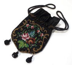 Very Rare Victorian Antique Beadwork Evening Bag / Purse.