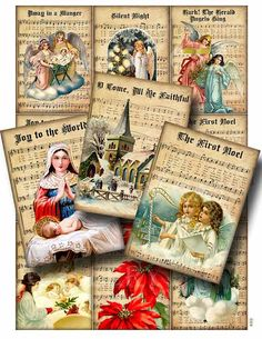 CHRISTMAS MUSIC Digital Collage Sheet Instant by GalleryCat, $3.70  more awesome vintage papers that i can make cards,papers and gifts from!