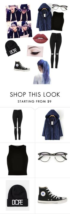 """""""Suga inspired look"""" by btsbxtch ❤ liked on Polyvore featuring Topshop, River Island, Dope, Converse, Lime Crime, Suga and bys"""