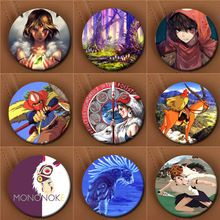 Youpop Japanese Anime Princess Mononoke Album Brooch Fashion Pin Badge Accessories For Clothes Hat Backpack Decoration XZ0020(China (Mainland))
