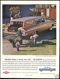 Chevrolet Nomad 4dr Wagon Vintage (1959). Saw this car at a car show recently, but in a robin's egg blue, just lovely!