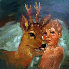 Boy § Deer, 1999, 80x80 cm. € 3000.=     www.philbloom.com.