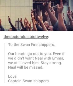 Be strong Swanfire shippers.<--see? This is what every fandom needs. No ship wars. This is why ouat shippers are the best by far