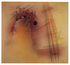Aglow by Vasily Kandinsky via Guggenheim Museum Size: cm Medium: Watercolor, ink, and graphite on paper Solomon R. Guggenheim Museum, New York Solomon R. Guggenheim Founding Collection, By. Kandinsky Prints, Wassily Kandinsky Paintings, Kandinsky Art, Abstract Words, Abstract Art, Abstract Paintings, Monet, Art Abstrait, Watercolor And Ink