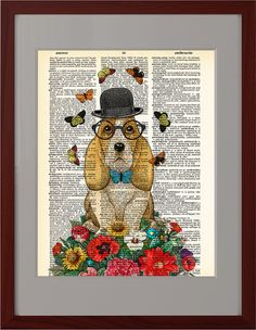 Dog on Weekend art print, Colorful flowers poster, Dog bowler hat, Dictionary page poster, Dorm Home Wall decor, gift poster, CODE/207