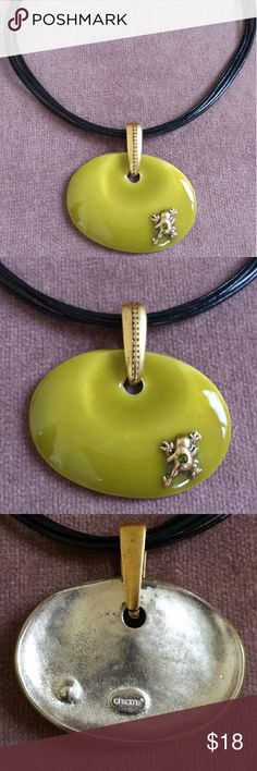 """Lighthearted Frog Choker, Lime, Chico's Enameled lime green metal disc suspended on black vinyl cords. The unique delight is the little frog clinging to one corner! Choker measures 15.5 """" with a 4"""" extender. Pendant is 2.25 x 1.75. Excellent pre-owned condition. Chico's Jewelry Necklaces"""
