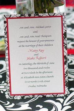 - Black white & red wedding invitations -