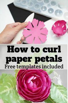 paper flower petal curling tutorial